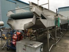 Cooling Conveyor, with gantry, approx. 7300mm long x 1500mm wide on belt x 2200mm high, £300 lift