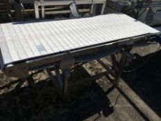 White Intralox Type Conveyor Belt, on stainless steel frame, approx. 2000mm long x 670 mm wide on
