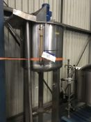 High Level Stainless Paddle Mixer, tank approx. 680mm deep, overall 850mm x 850mm x 2600mm high, £80