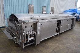 JBT Stein Natural Gas Fryer with hydraulic canopy hoist, frying length approx. 4000 mm, frying width