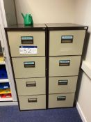 Two x Four Drawer Steel Filing Cabinets