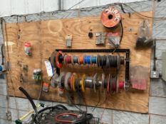 Two-Tier Steel Cable Stand, with assorted reels of cable