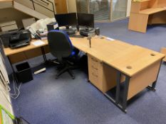 Light Oak Veneered Curved Front Cantilever Framed Desk, with two extension tables, desk pedestal and