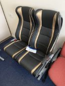 Two Fabric/ Leather Effect Upholstered Executive Coach Seats