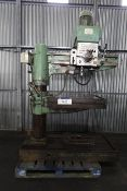 Town Woodhouse SM550 Radial Arm Drill, with rise & fall tilting table, serial no. 22/1740, free