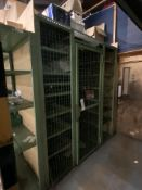 Steel Cage Enclosure, with six fitted bays of stock rack, approx. 2.05m x 3.2m x 2.35m, with