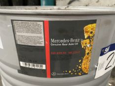 Drum of Mercedes Benz SAE 80W-90 MB 235.0 Rear Axle Oil, 210 litre (lot located at Briscoe Lane,