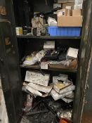 Assorted Double Door Cabinets & Single Door Lockers, with Mercedes Benz spares and parts, mainly