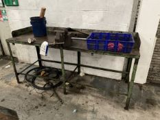 Steel Framed Workbench, with fitted Record heavy duty bench vice (lot located at Briscoe Lane,