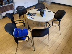 Light Oak Veneered Circular Meeting Table, with six steel framed chairs (lot located at Briscoe