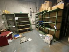 Five Assorted Bays of Steel Stock Rack, with plastic stacking bins, each bay approx. 1m x 600mm x