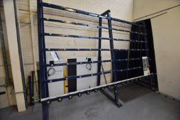 Four Inclined Glass Panel A-Frame Roller Feed Stands, approx. 13.4m long overall x 1.2m x 2.85m high