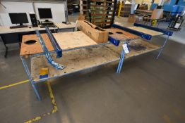 Two Steel Framed Timber Top Tables, each approx. 1.8m x 800mm x 900mm high