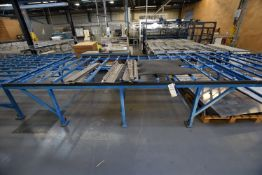 Stationary Steel Framed Roller Ball Feed Table, approx. 3.77m x 1.8m x 870mm high