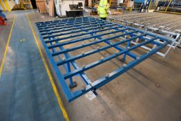 Stationary Steel Framed Roller Ball Feed Table, approx. 3m x 2.24m x 890mm high