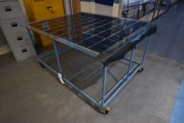 Mobile Steel Framed Bench, approx. 1.3m x 1.8m x 970mm high