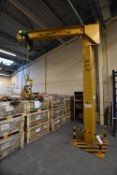 Donati 500kg SWL Floor Standing Swivel Jib Arm Crane, approx. 3.85m to underside of jib x approx. 3m