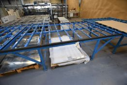 Stationary Steel Framed Roller Ball Feed Table, approx. 3m x 2m x 880mm high