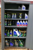 Double Door Steel Cabinet, with contents including assorted lubricants, oils and greases