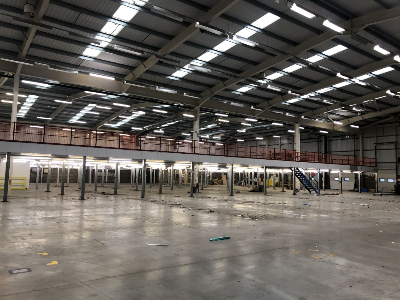 Short Notice - Large Steel Framed Mezzanine Floor with Loading Safety Gate circa 1,800 sq m