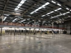 Large Steel Framed Mezzanine Floor (circa 1,800 sqm), overall dimensions approximately 54m (L) x