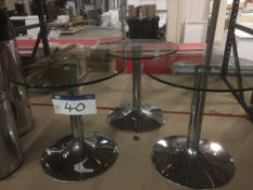 Three Glass Top Occasional Tables, 500mm dia.