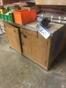 Record 90mm Engineers Bench Vice, with wood cupboa