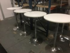 Four White Top High Tables, on chrome base, 600mm