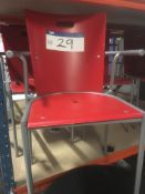 Four Steel Framed Red Stand Chairs