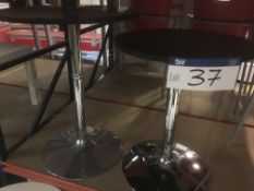 Two Black Top Tables, on chrome bases