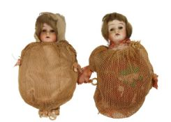 Pair of Antique Female Dolls, Early 20th Century