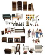 Large Group of Wood and Metal Doll House Furniture