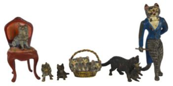 Collection of (6) Diminutive Viennese Bronze Cats