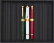 AURORA, Bicentenaire du drapeau italien, Lot de trois stylos Série éditée en 1997 à 599