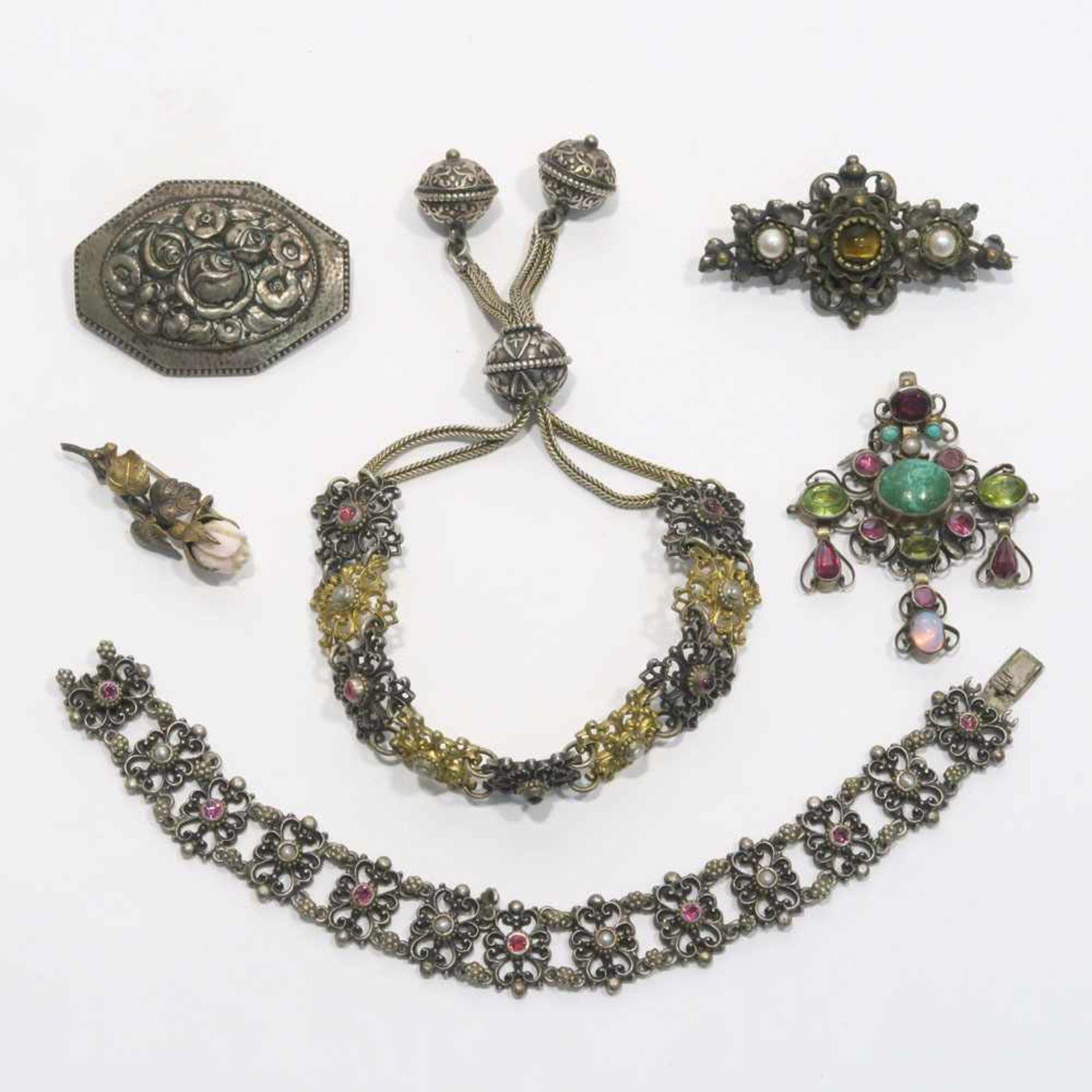 Konvolut Silber, 6tlg.Silber, tlw. vergoldet bzw. Metall, versilbert. Mit Glassteinen, Türkisen,