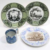 Drei Teller19. Jh., u.a. Creil. Steingut mit Umdruckdekoren in Grün und Schwarz bzw. Blau und Braun: