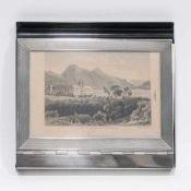 NotizblockhalterSilber, Bakelit u.a. Platte aus schwarzem Bakelit mit Stiftablage, Scharnierdeckel
