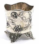 TeeglashalterWien, 1872 - 1912, Franz Rumwolf sen. Silber. Becher mit gewelltem Rand und