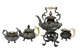 Wasserkessel mit Rechaud und Brenner, Teekanne, Milchkännchen und ZuckerschaleWien, um 1846, Ma