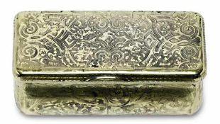 TabatièreMoskau, Mitte 19. Jh.Silber, vergoldet. Rechteckige Dose mit feinem Niello-Ran