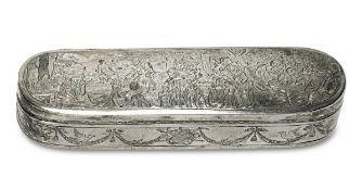 TabatièreNiederlande, 1891 Silber. Ovale, längliche Form mit Scharnierdeckel. Allseitig gravierter