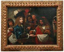 Die WahrsagerinItalienische Schule, um 1650Einem vornehmen Kavalier aus den Händen lesend, auf