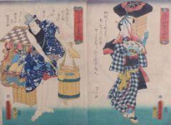 Utagawa Kunisada (Toyokuni III.)Diptychon mit zwei Schauspielerbildnissen(Katsushika 1786-1865