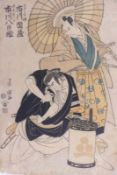 Utagawa Toyokuni (Toyokuni I.) (Attrib.)Kabukiszene mit zwei Schauspielern(Edo 1769-1825 ebd.)