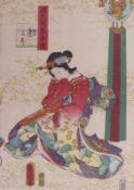Utagawa Kunisada (Toyokuni III.)Prinzessin Asagao(Katsushika 1786-1865 Edo) Rechtes Blatt des