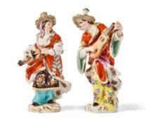 Mandoline spielender Malabar und Drehleiher spielende MalabarinMeissen, 20. Jh.Modell von