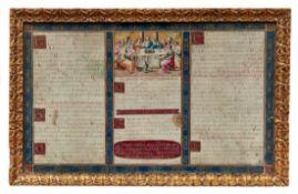 Lieder- und Gebetsblatt mit dem letzten Abendmahl16. Jh.Querrechteckig, Text in drei Spalten,