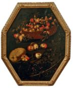 FrüchtestilllebenNeapolitanische Schule des 17. JahrhundertsAchteckig; über einem Brombeerstrauch
