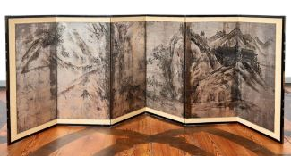 Sechsteiliger Stellschirm mit Shanshui-LandschaftChinaSechs Paneele mit übergreifender Darstellung