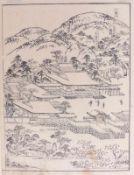 """Takehara ShunchosaiLandschaft aus """"Miyako meisho zue""""(Gest. 1801 Japan) Blatt aus dem"""